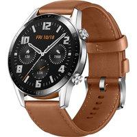 Huawei Watch GT 2 46 mm plata con correo de cuero marrón