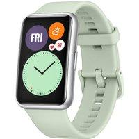 Huawei Watch Fit 46 mm plata con correa de silicona verde
