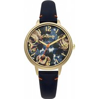 ladies cath kidston oxford rose deep blue leather strap watch ckl001ug