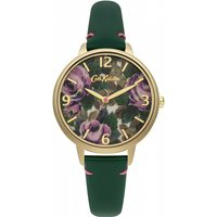 ladies cath kidston oxford rose bottle green leather strap watch ckl001ng