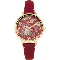 ladies cath kidston garden rose red leather strap watch ckl001rg