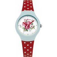 ladies cath kidston spray flowers red polka dot silicone strap watch ckl024ur