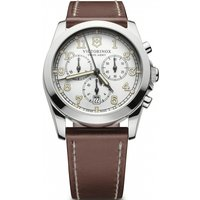 mens victorinox swiss army infantry mens silver white dial brown leather strap chronograph watch 241568