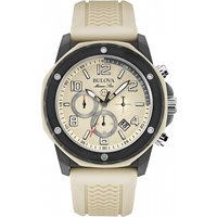 mens bulova marine star duramic cream chronograph watch 98b201