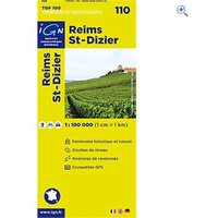 IGN Maps TOP 100 Series: 110 Reims / St-Dizier Folded Map