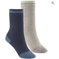 GO Outdoors Kids Heat Trap Socks (2 pair pack) - Size: XXS - Colour: OAT-DENIM