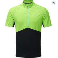Ronhill Trail Short-Sleeved Zip Tee - Size: S - Colour: GECKO-BLACK