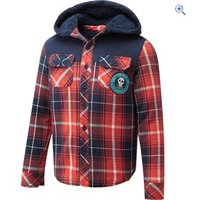 Animal Lumberjack Long Sleeve Junior Hooded Shirt (Sizes 13-16) - Size: 13-14 - Colour: INDIGO BLUE