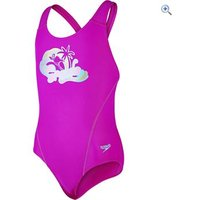 Speedo Girls Logo Placement Splashback Swimsuit - Size: 26 - Colour: DIVA PINK BALI