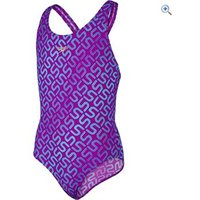 Speedo Girls Monogram Allover Splashback Swimsuit - Size: 24 - Colour: DIVA-BALI BLUE