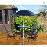 Kingfisher 6 Piece Garden Patio Furniture Set - Colour: Black