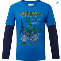 Weird Fish Kids Squid Long Sleeve Graphic Print T-Shirt - Size: 11-12 - Colour: Skydiver Blue