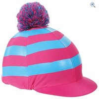 Shires Pom Pom Hat Cover with Stripes - Colour: TURQ-PINK