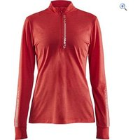 Craft Womens Mind LS Reflective Zip Tee - Size: XL - Colour: Red