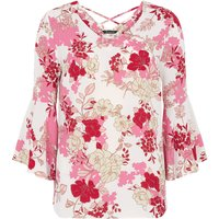 Bonmarche Floral Printed Fluted Sleeve Blouse - White