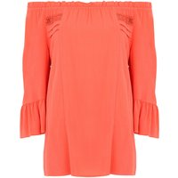 Bonmarche Off The Shoulder Blouse With Fluted Sleeve - Pink