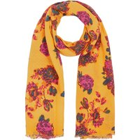 Bonmarche Textured Floral Printed Scarf - Yellow - size ONE SIZE