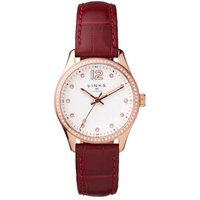 Greenwich Noon Women's Rose Gold Tone & Red Leather Band Strap Watch Steel - Band Gifts