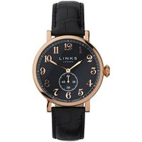 Greenwich Men's Black Dial Rose Gold-Plated & Black Leather Band Watch - Band Gifts