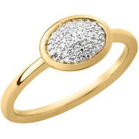 Diamond Essentials 18kt Yellow Gold Vermeil & Pave Oval Ring - Diamond Gifts