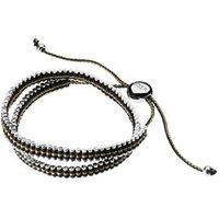 Sterling Silver, Gold & Black Cord Double Friendship Bracelet