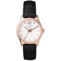 Greenwich Noon Women's Rose Gold Tone, Crystal & Black Leather Band Watch