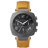Brompton Men's Gunmetal Grey & Mustard Leather Band Chronograph Watch in Silver Steel