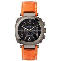 Brompton Gunmetal Grey & Orange Leather Band Chronograph Watch in Silver Steel