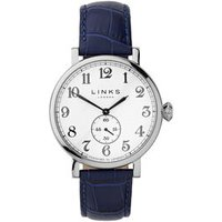 Greenwich Men's Stainless Steel & Blue Leather Band Watch - Band Gifts