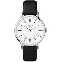 Noble Slim & Roman Stainless Steel White Dial & Black Leather Band Watch