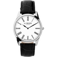 Noble Men's Slim Stainless Steel Black Leather Band Watch