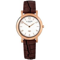 Noble Women's Slim Rose Gold & Brown Leather Band Strap Watch - Band Gifts