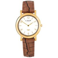 Noble Slim Yellow Gold-Plated & Brown Leather Band Strap Women's Watch - Band Gifts