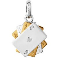 Sterling Silver & 18kt Yellow Gold Vermeil Poker Cards Charm - Poker Gifts