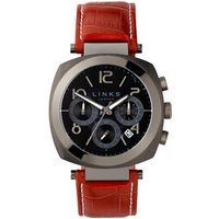 Brompton Men's Gunmetal Grey & Burgundy Leather Band Chronograph Watch in Silver Steel - Band Gifts