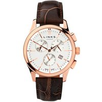 Regent Men's Rose Gold-Plated & Chocolate Leather Band Chronograph Watch