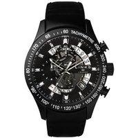 Skeleton Black Leather Band Chronograph Watch