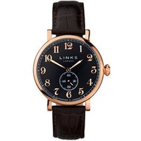 Greenwich Men's Black Dial Rose Gold-Plated & Brown Leather Band Watch - Band Gifts