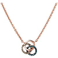 Treasured 18kt Rose Gold Vermeil, Champagne & Blue Diamond Necklace - Champagne Gifts