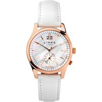 Regent Women's Rose Gold-Plated Mother of Pearl & White Leather Band Watch by Links of London