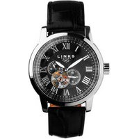 Noble Roman Stainless Steel & Black Dial Leather Band Automatic Watch - Band Gifts
