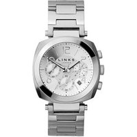 Brompton Men's White Dial Stainless Steel Chronograph Bracelet Watch in Silver by Links of London
