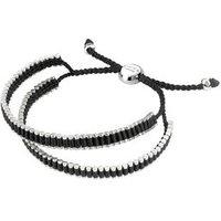 Friendship Men's Sterling Silver & Black Cord Double Wrap Bracelet