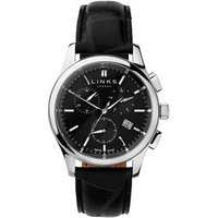 Regent Men's Black Dial Stainless Steel & Black Leather Band Chronograph Watch by Links of London