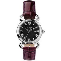 Driver Round Women's Stainless Steel Purple Leather Band Watch in Black/Silver