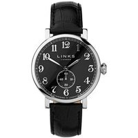 Greenwich Men's Black Dial Stainless Steel & Black Leather Band Watch - Band Gifts