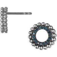 Effervescence Sterling Silver & Blue Diamond Stud Earrings