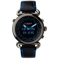 Driver Sport Black Leather Band & Blue Digital Analogue Watch Steel - Sport Gifts