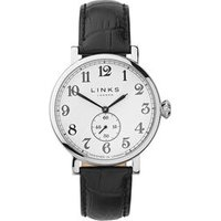 Greenwich Men's Stainless Steel & Black Leather Band Watch - Band Gifts