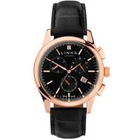Regent Men's Black Dial Rose Gold-Plated & Black Leather Band Chronograph Watch